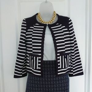 ASOS Navy and White Stripe Knit Jacket Size 2